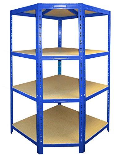 Schwerlast Eckregal für 60 cm tiefe Regale |  176,5x90x90x60cm |  Hochwertig blau pulverbeschichtet...