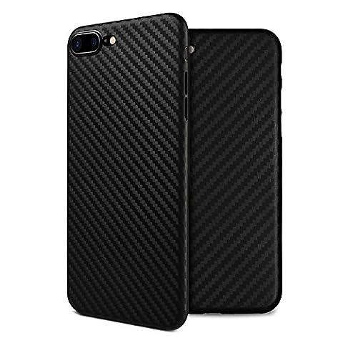 doupi UltraSlim Case iPhone 8 / 7 Plus ( 5,5 pouces ) [ Chargeur sans fil pris en charge ] Carbon Fiber Look Optique de Fibre de Carbone ultra mince et ultra léger Bumper Cover Housse de Protection Shell Coque Hardcase - noir