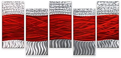 Metal Wall Art Contemporary Abstract Modern Sculpture 5 Panels HUGE Red Waves