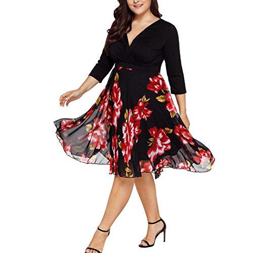 Beautyjourney vestiti lungo donna taglie forti vestito abito abiti lungo cerimonia donna estivi elegante estivo lunghi tumblr ragazza eleganti gonna lunga donna vestito da donna v (xl, rosso)