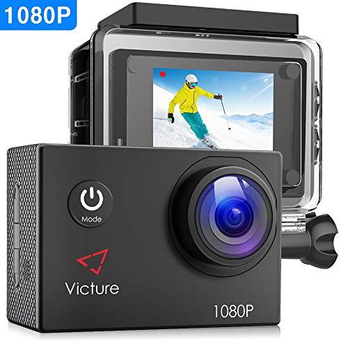 Victure Actioncam Full HD 1080P 12 MP 170 ° grandangolare impermeabile azione Fotocamere fotocamera subacquea Sport Action Camera con 1050 mAh batteria 20 + accessori Kits gratuita