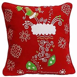 Adam Housse de coussin, 100% coton, motif : Noël, imprimé chaussettes de Noël