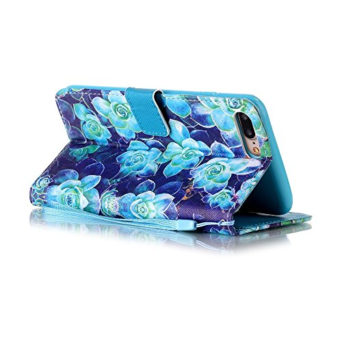 iPhone 7 Plus Custodia in Pelle,Portafoglio Flip Libro PU Leather Protetteiva Case Cover,Etsue 2016 New Style Lusso Artificial PU Bella Elegante Floreale Pattern Disegno, Ultra Sottile Folio Stand Wal *3
