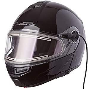 X-Large : LS2 Helmets Strobe Solid Modular Snow Helmet with Electric face Shield and Sunshield (Black, X-Large)