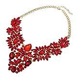 XBY Damen Statement Halskette Rot Geometrische Schmuck Collier Moderschmuck Kette chokerkette mit Kristall Costume Jewellery Bekleidung Deko (Rot)