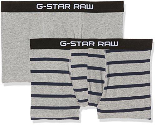 G-STAR RAW Herren Unterwäsche Tach Trunk Stripe 2 Pack Mehrfarbig (Grey Htr/Imperial Blue AO 8514)