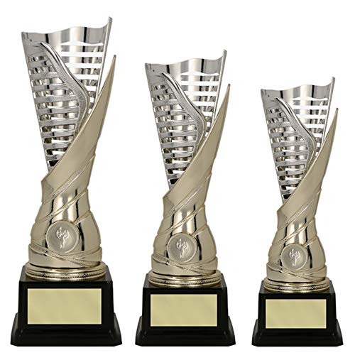 RaRu 3er-Serie extravagante Sport-Pokale mit Wunschgravur und Sport-Emblem (Flamme silbergold) (Tischtennis)
