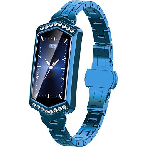 Bluetooth Wasserdicht Smartwatch für Damen mit Kamera Uhr J1 Frauen Blutdruck Herzfrequenz Sport Smart Watch Armbanduhr Schlafmonitor Schrittzaehler Kalorienzähler Uhr für Android iOS (Blau)