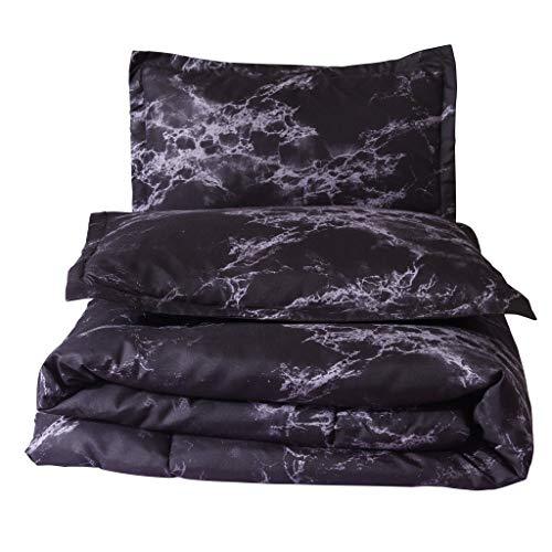 Dtuta Schwarzer Marmor KissenbezüGe Bettlaken Set Ganzjahr BettwäSche BettbezüGe Coole Farbe