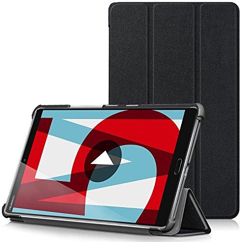 TTVie Hülle für Huawei MediaPad M5 8.4 - Ultra Dünn PU Leder Schutzhülle mit Standfunktion und Auto Aufwachen/Schlaf Funktion für Huawei MediaPad M5 21,34 cm (8,4 Zoll) Tablet-PC, Schwarz