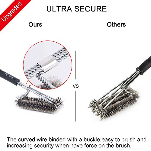 """Upgraded BBQ Grill Brush 18"""" Long 3 Stainless Steel Bristle Brushes in 1- Best Barbecue Grill Cleaner for Char Broil, Weber, Porcelain and Infrared Grills + Anti-Prick Bag + Handy Bag"""