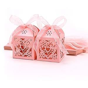 25pz. Carta di Bomboniera Per Confetti Matrimonio Scatola Colore Rosa Cuore Fiore Traforato + Nastro
