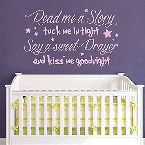 wandaufkleber sterne türkis Lesen Sie mir eine Geschichte Wandtattoo - Baby Kindergarten Gedicht - Kiss Me Goodnight Zitat Gebet Vinyl Wand Zitat Mädchen junge Kinderzimmer Schlafzimmer Dekor
