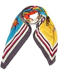 Accessoire pour Femmes Calonice Amorino écharpe motif équestre cheval et bords Gris châle fabuleux Taille unique 140x0.1x130cm (LxHxW) 29605