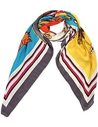 Calonice Amorino Damen Accessoire Grau Rand Schlauchschal Pferde Muster Halstuch Fabelhaftes Umhängetuch Eine Größe 140x0,1x130 cm (LxHxW) 29605
