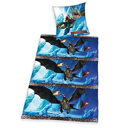 Herding DreamWorks Dragons Bettwäsche-Set, Wendekissenbezug, Bettbezug 135 x 200 cm, Kopfkissenbezug 80 x 80 cm, Flanell/Biber