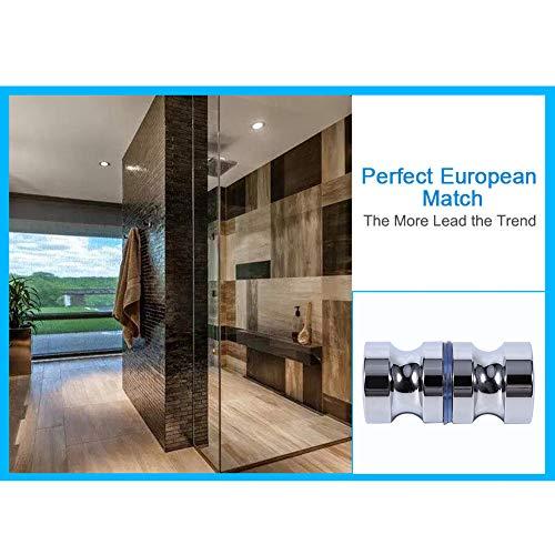 510ITTgSH L - Tirador para puerta de muebles Manija de puerta de la aleación de aluminio para el gabinete de la ducha del cuarto de baño del botón de cristal solo