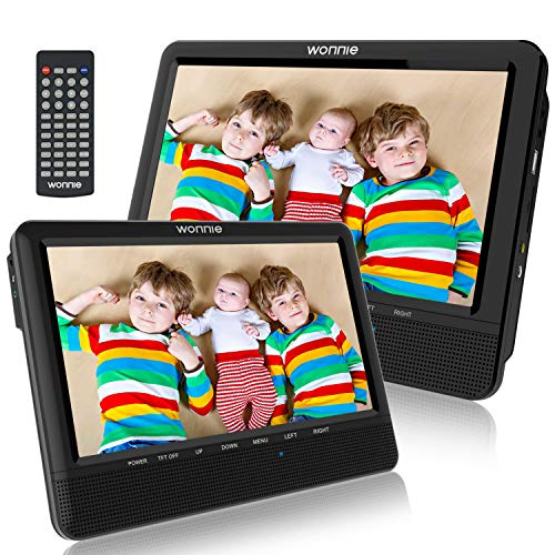 WONNIE Lecteur DVD Portable Voiture pour Enfant 2 de 10,1 '' pour Prise en Charge USB/SD, AV in/Out, accompagnateur en Voiture pour la Famille(1 Lecteur DVD et 1...