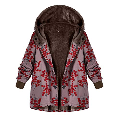 Kairuun Mujer Invierno Impreso Abrigo con Capucha De Manga Larga Vintage  Cremallera Abrigos con Bolsillos e79fb467ae2e