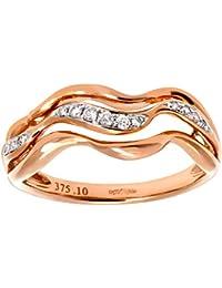 Naava Women's 9 ct Rose and White Gold Round Brilliant 0.10 ct Diamond Triple Wave Half Eternity Ring