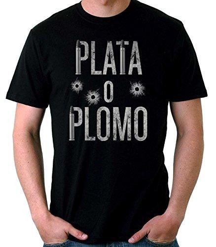 35mm - Camiseta Hombre Plata o Plomo-Narcos-Pablo Escobar, Negra, M