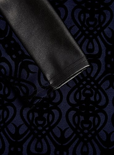 oodji Ultra Femme Robe à Finition en Similicuir Bleu (7929O)