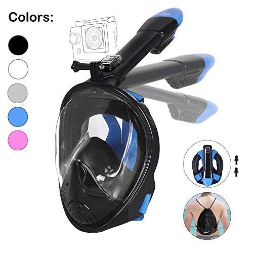 Tauchmaske, Faltbare Schnorchelmaske Tauchermaske Vollgesichtsmaske, mit 180 Grad Blickfeld und Kamerahaltung, Anti-Fog Anti-Leck Easybreath, für Erwachsene und Kinder (Schwarz, S/M)