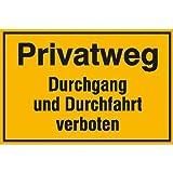Privatweg - Durchgang und Durchfahrt verboten Hinweisschild, Alu, 30x20 cm