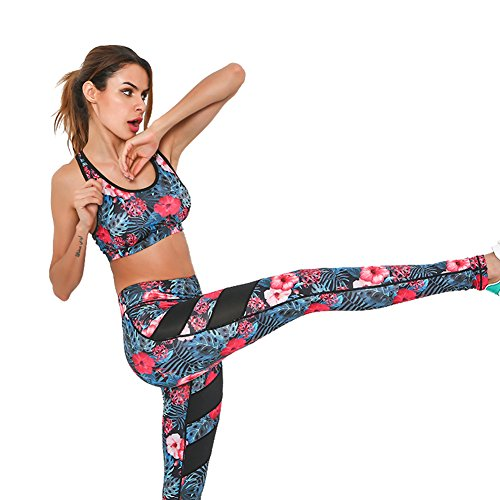Fitibest Sport BH&Sport Leggings,Yoga BH Bustier Damen Jogginghose Damen Sport Leggings Yoga Hose Trainingshose Blau 1