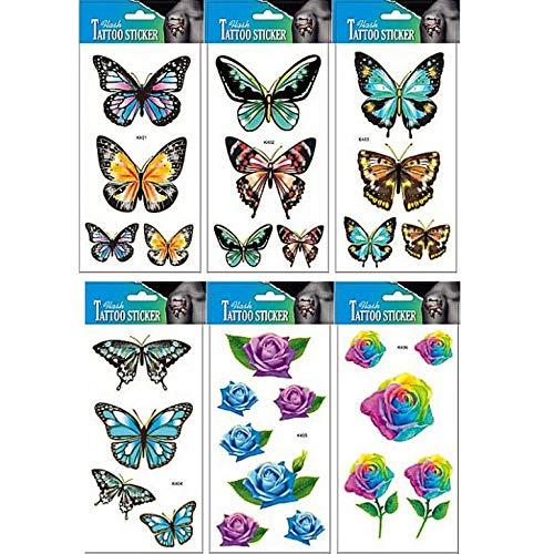 PAMO 10er Tattoo Hirsch Gefälschte und echte Tempo-Sticker, die in Paketen echt aussehen, darunter Totem, Heirat, Hirsch, Schmetterlinge, Karte, Rosen, Hirsch, Federn, Schmuck, etc.