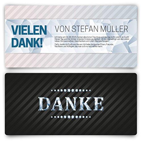 Danksagungskarten (20 Stück) VIP Dankeskarte Hochzeit und Geburtstag Schwarz Diamant UV-Lack