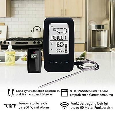 MSMK MK2245 Digitales Funk Grillthermometer mit Magnetischer Rückseite/Koch Lebensmittel Fleisch Thermometer/Edelstahl Temperaturfühler für Küche/Raucher / Grill BBQ
