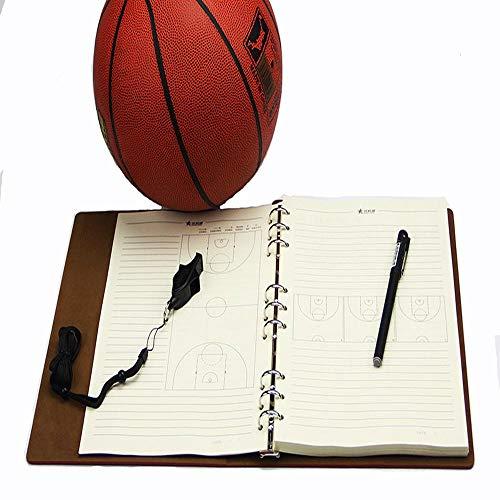 Faltendes Basketball-Trainingsplan-Taktik-Brett-Trainer-Notizbuch-hohes Gang-Leder Wasserdicht Coach Lieferungen Brown