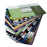 casa pura Design Badematte | Rutschfester Badvorleger | viele Größen | zum Set kombinierbar | Öko-Tex 100 Zertifiziert | viele Muster zur Auswahl | Quadrate - Grün (70 x 120 cm)