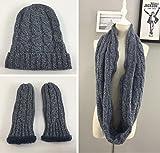 Damen Mädchen 3 in 1 Schal, Mütze und Handschuh Set, Zopfmuster Loop Strickschal Strickmütze Wintermütze Handschuhe, grau khaki (dunkelgrau)