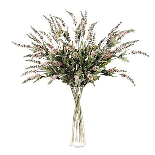 Li Hua Cat Künstliche Blumen Einzel 5-Prong Beflockung Salbei 2Simulation Blume Lavendel Salbei Home Office Hochzeit Dekoration Table Flower Arrangement, Plastik, Grau/Pink, 80 cm