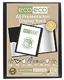 Livre de poche de présentation de papier à lettre eco-eco 100% recyclé/livre de présentation noir, noir, A3 60 Pocket/120 View 1 x Single