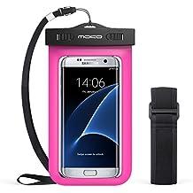MoKo Funda Impermeable - Waterproof Brazo y Cuello Compatible para iPhone 7/ 7 Plus/ iPhone 6s/ 6s Plus/ Galaxy S7/ S7 Edge/ P7 P8 P9 y Smartphone 5.7 Pulgadas - IPX8 Certificado, Fucsia
