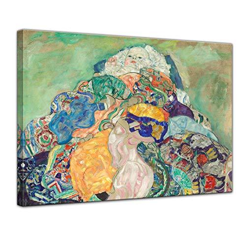 Wandbild Gustav Klimt Baby - 50x40cm quer - Wandbild Alte Meister Kunstdruck Bild auf Leinwand Berühmte Gemälde