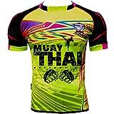 no brand Maillot Thailande Muay Thai Jaune Rond Blanc Flocage Dos - thailande, Maillot, Orange, Fluo, Thai, Pattaya, Phuket - Jaune - Taille Small