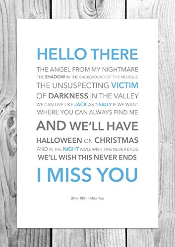 Blink 182-I Miss You Lyric-Funky-Art Print, formato A4