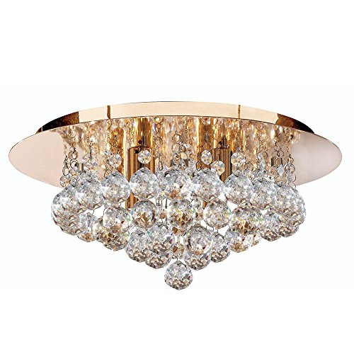 Searchlight Hanna 4 ceiling light 3404-4GO (round, clear crystals, gold finish)
