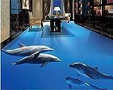 Mbwlkj Benutzerdefinierte 3D Tapete Selbstklebende Boden Marine Delphin 3D Tapete Boden Wasserdicht Rutschfeste Hause 3D Bodenbelag-200cmx140cm
