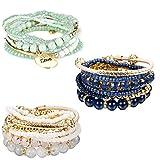 Finrezio 3 Set Braccialetti Con Perline Di Boemia Per Le Donne Bracciale Multistrato Gioielli Multicolore