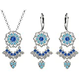 Lucia Costin Silver, Light Blue, Blue Crystal Jewelry Set, Charming