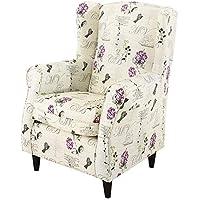 HOGAR TAPIZADO Butaca sillón orejero Nadia tapizado en Tela Estampada VELERO Lila 100 x 72 x 74