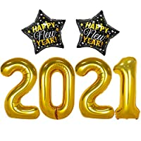 2021 Balloons Gold for New Years Eve Decorations - Large, 40 Inch | 2 Star Balloons | New Years Eve Party Supplies 2021 | Black and Gold Happy New Year Decorations 2021, Graduation Decorations 2021