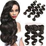 DAIMER Virgin Hair Bundles with Closure 8a 4x13 Free Part Bleached Knots and Peruvian Hair Body Wave Weave 3 Bundles Natural Brown 22 24 26 +20 Frontal