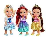 Disney Prinzessinnen Ariel, Belle & Cinderella - Mini Taschenformat - 3 x Puppe Paket