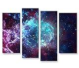 islandburner Bild Bilder auf Leinwand Sternennebel Sterne Weltall Galaxie 4er XXL Poster Leinwandbild Wandbild Dekoartikel Wohnzimmer Marke